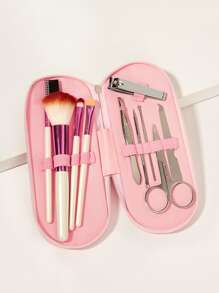 Nail Clip & Makeup Brush Set With Pouch 11pack