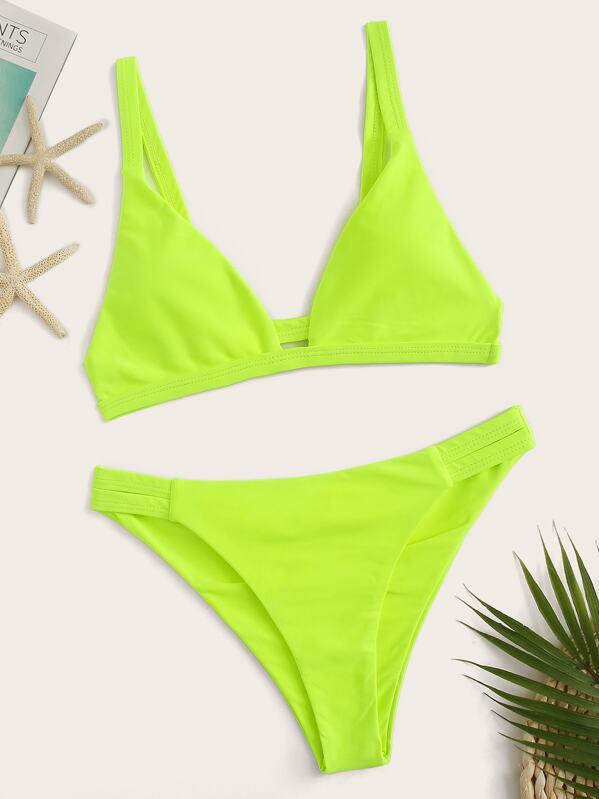 0f772b1450 Shoptagr | Neon Lime Triangle Top With Cut Out Bikini Set by Sheinside
