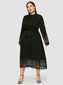Plus Jabot Collar Guipure Lace Hem Belted Dress