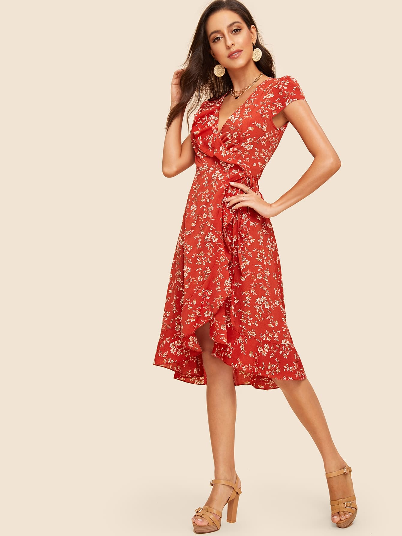 72c5d7b721 60s Botanical Print Ruffle Trim Surplice Dress | SHEIN