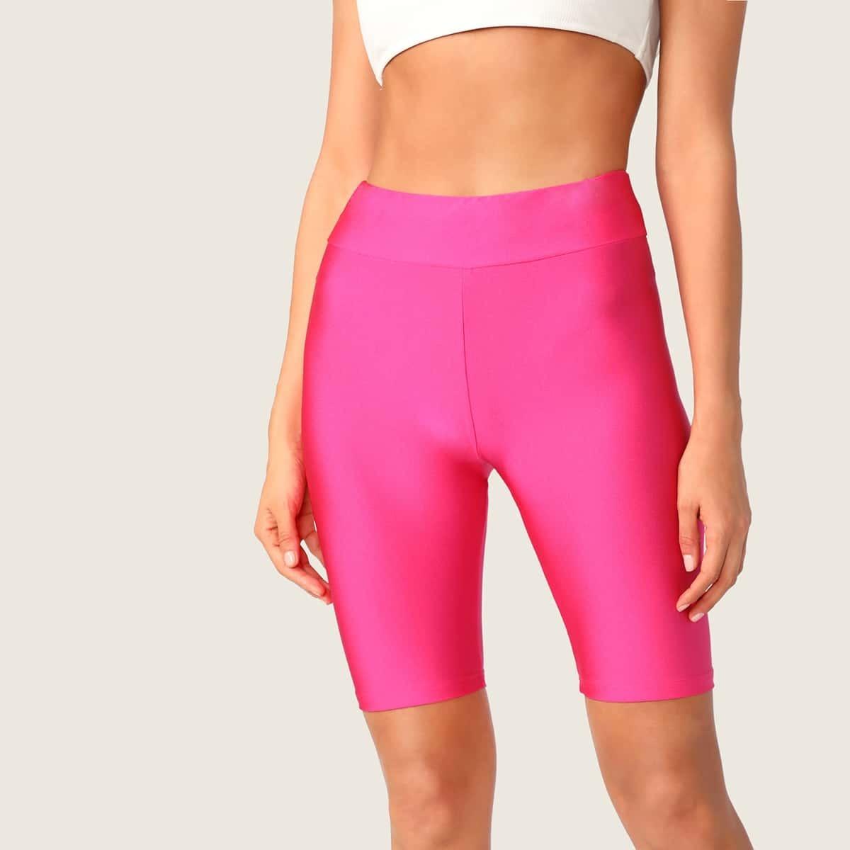 Неоновые розовые велосипедные шорты на резинке