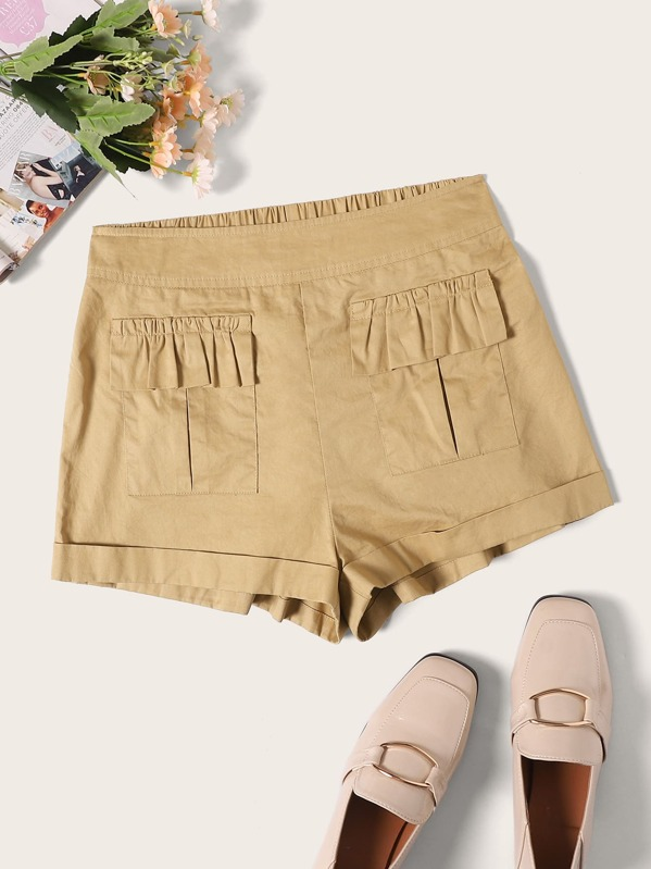 Flap Pocket Front Rolled Up Hem Shorts by Shein