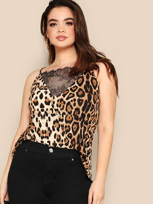 3ea41f1fbfec Plus Lace Insert Leopard Print Cami Top   SHEIN