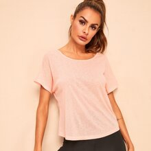 Strappy Scoop Back Short Sleeve Tee