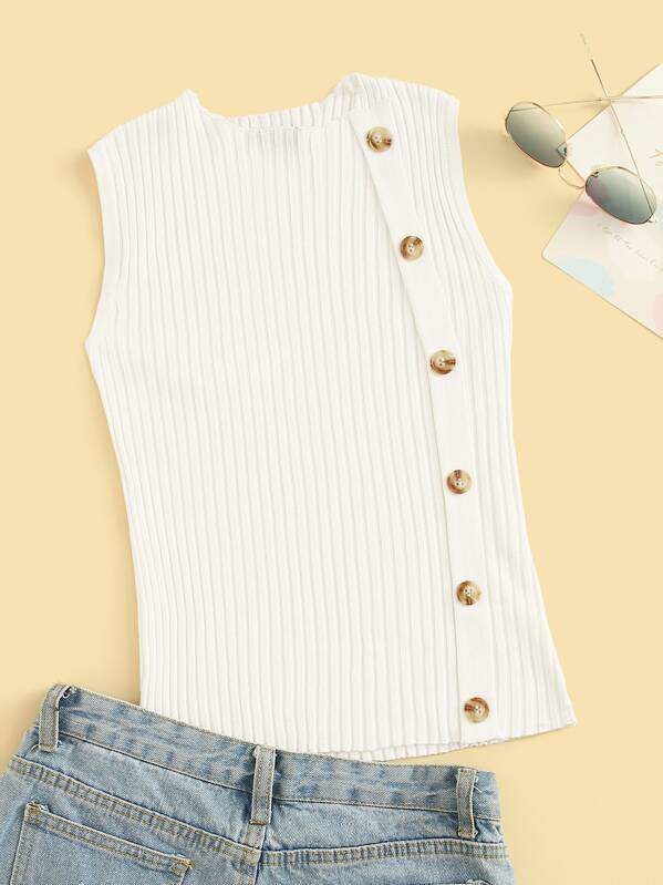 7b93df8d355 Button Front Rib-knit Fitted Tank Top