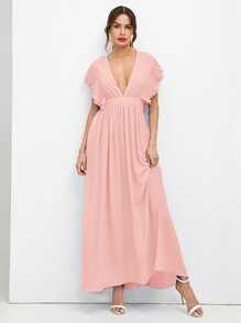 Pleated Layered Ruffle Trim Plunging Dress