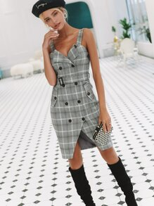 Simplee Double Breasted Plaid Belted Dress