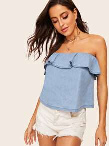 Ruffle Trim Solid Denim Bandeau