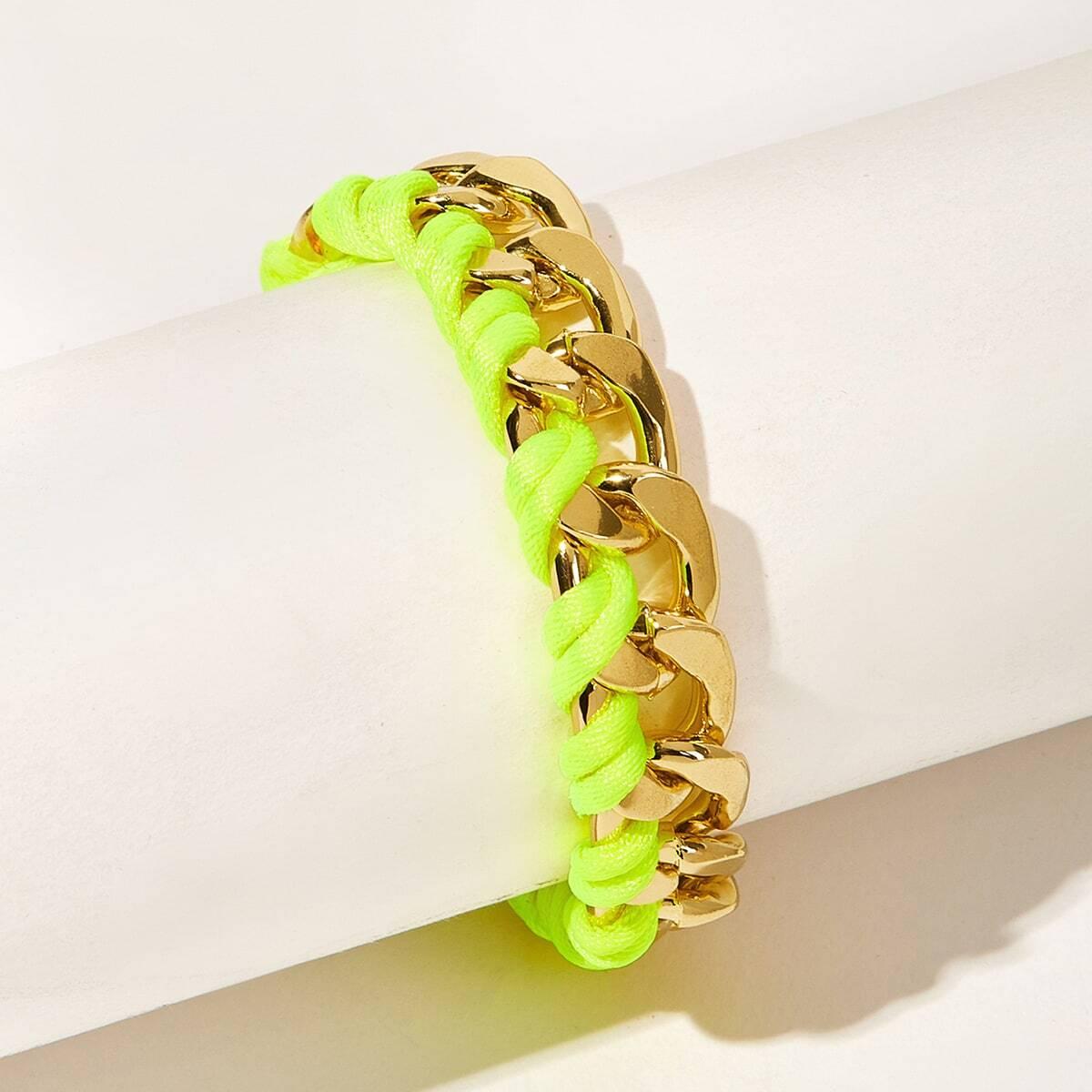 Zweifarbige Schnur & Metall gewebtes Armband 1 Stück