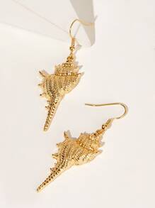 Conch Shaped Metal Drop Earrings 1pair