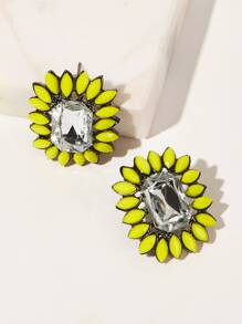 Contrast Trim Rhinestone Stud Earrings 1pair