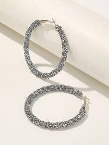 Glitter Design Hoop Earrings 1pair