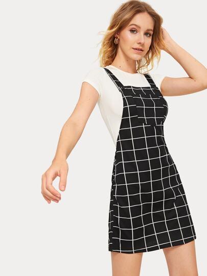 dea7f168a9 Bib Pocket Front Grid Pinafore Dress