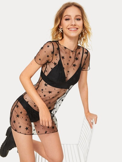 Star Mesh Dress Without Lingerie