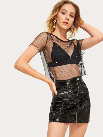 Pearl Beaded Geo Mesh Top Without Bra