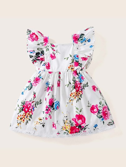 faced957fdc Toddler Girls Floral Print Contrast Lace A-line Dress