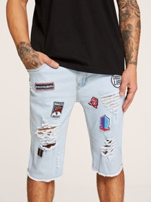 Men Patched & Ripped Detail Denim Shorts