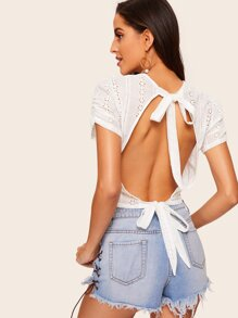 Open Back Knot Detail Schiffy Blouse