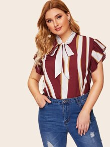 Plus Tie Neck Striped Blouse