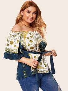 Plus Off Shoulder Scarf Print Belted Blouse