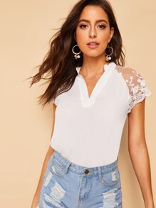 V-neck Contrast Lace Cuff Blouse