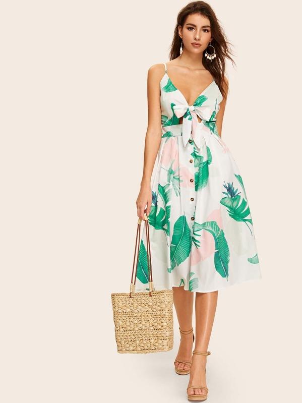 6f96fce00d Leaf Print Button Tie Front Cami Dress | SHEIN UK