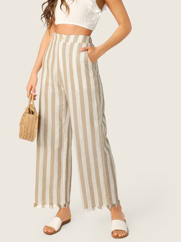 Women's Beachcomber Wide Leg Raw Hem Khaki and White Striped Pants - DeluxeAdultCostumes.com