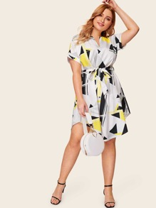 Plus Geo Print Curved Hem Shirt Dress