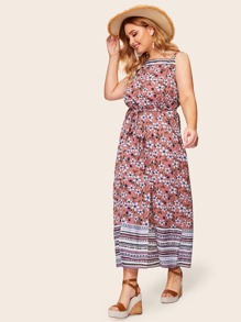 Plus Floral Print Split Maxi Cami Dress