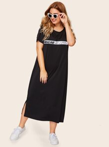 Plus Letter Taped Split Side Dress