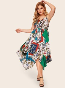 Plus Hanky Hem Scarf Print Cami Dress