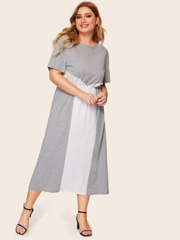 Plus Contrast Panel Maxi Blouson Dress