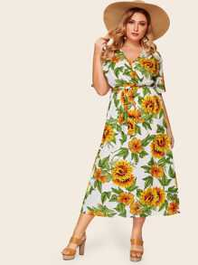 Plus Surplice Front Sunflower Print Dress