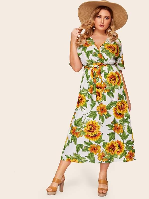 39756db94fa Plus Surplice Front Sunflower Print Dress