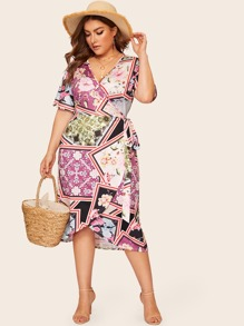 Plus Scarf Print Wrap Tie Side Dress