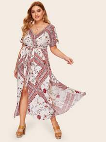 Plus Surplice Front Floral Print Split Belted Dress