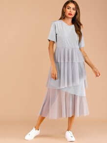 Contrast Layer Mesh Dress