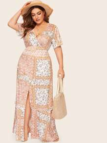 Plus Paisley Print Frill Split Surplice Dress