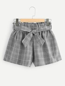 Plus Plaid Frill Belted Shorts
