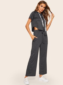 Crop Hoodie & Drawstring Waist Wide Leg Pants
