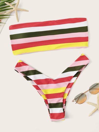 b0b48fbdd0 Striped Ladder Cut Out Bandeau With High-leg Bikini