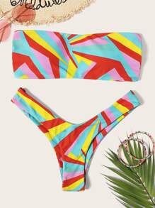 Geo Print Ladder Cut Out Bandeau With High-leg Bikini
