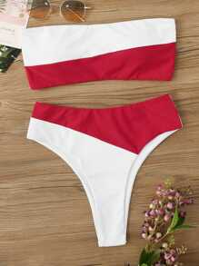 Two Tone Bandeau With High Leg Bikini Set