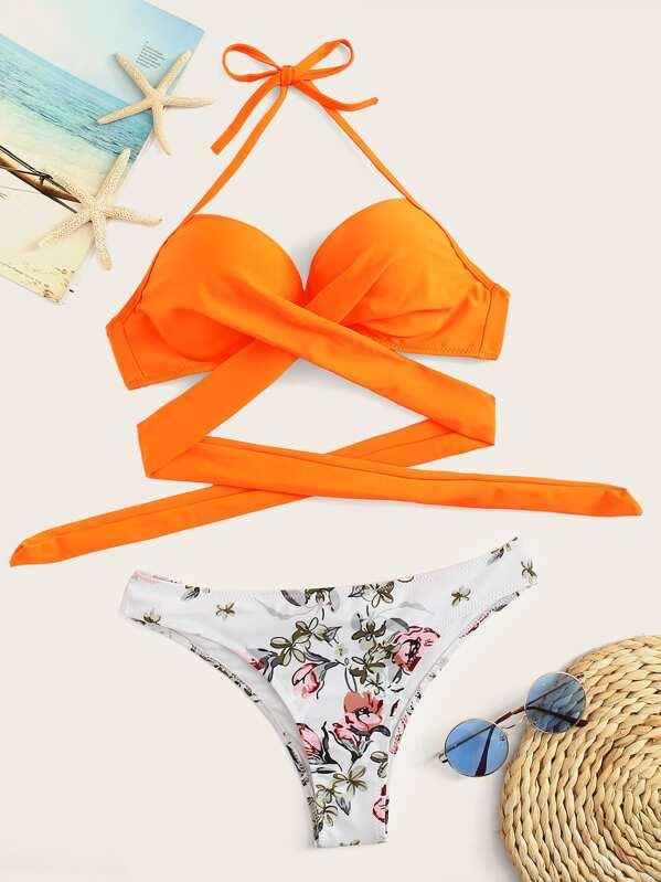 17c827a4b9 Cheap Wrap Halter Top With Random Floral Bikini for sale Australia   SHEIN