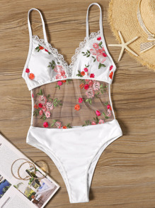 Mesh Floral Embroidered Lace Trim Monokini