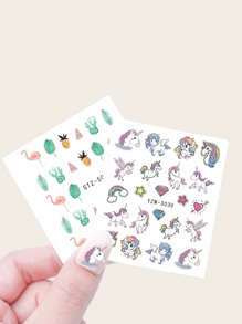 Animal & Plants Shaped Nail Sticker 2sheets