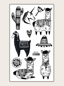 Alpaca & Unicorn Shaped Tattoo Sticker 1sheet
