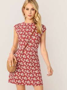 Zip Back Ditsy Floral Dress