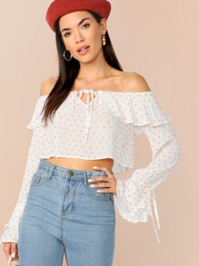 Off Shoulder Flounce Sleeve Tied Front Dot Crop Top