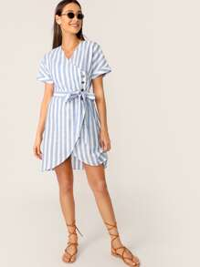 Buttoned Wrap Front Belted Striped Dress